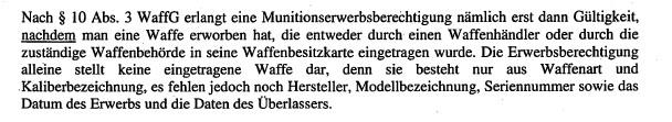 Ausschnitt aus Schreiben der Waffenbehörde Berlin