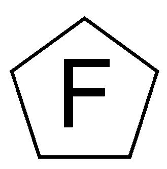 Zeichen F im Fünfeck für freie Waffen